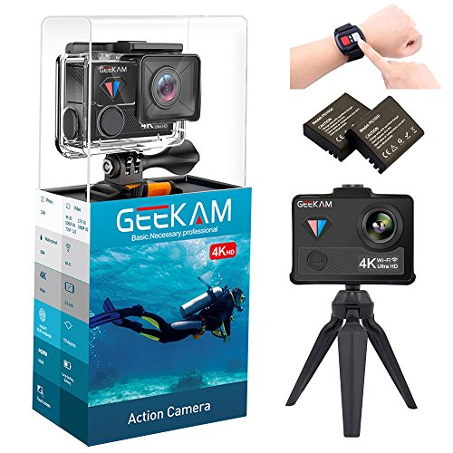 Digital Video Underwater Camera Live Streaming Touch Screen Action Cam 4K 30fps HD WiFi Sports Cameras 170 Wide Angle Remote Control Waterproof Camcorder 100ft with 2 Rechargeable 1350mAh Batteries