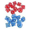Perfk ボードゲーム 10面ダイス D10 アクリル 多面 サイコロ 赤&青 各10個