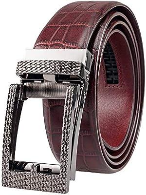 Martino Mens Leather Belt Brown Fake Pin Buckle Belt Automatic Buckle Belt Mens Leather Belt