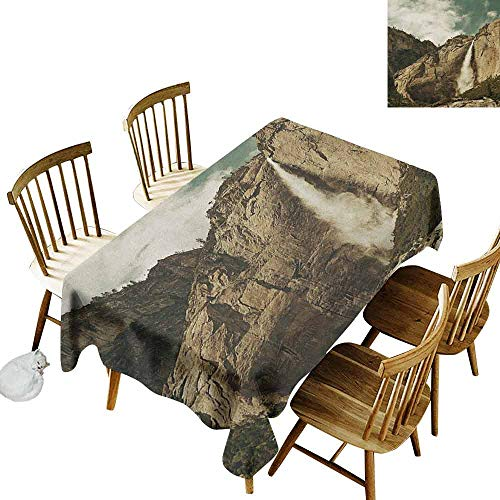 DONEECKL Yosemite Colorful Tablecloth Protection Table Waterfalls in Yosemite National Park California Famous Travel Destination Brown Reseda Green W54 xL72