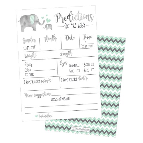 50 Elephant Advice and Prediction Cards for Baby Shower Game, New Mom & Dad Card or Mommy & Daddy To Be, For Girl or Boy Babies, New Parent Message Advice Book, Fun Gender Neutral Shower Party Favors