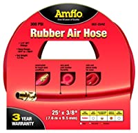 """Amflo 552-25AE Red 300 PSI Rubber Air Hose 3/8"""" x 25' With 1/4"""" MNPT End Fittings"""