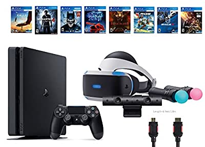 PlayStation VR Start Bundle 10 Items:VR Start Bundle,PS4 Slim- Uncharted 4,6 VR Game Disc Until Dawn:Rush of Blood, EVE:Valkyrie,Battlezone,Batman:Arkham VR, DriveClub,Battlezone