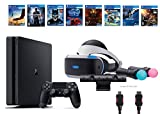 PlayStation VR Start Bundle 10 Items:VR Start Bundle,PS4 Slim- Uncharted 4,7 VR Game Disc Until Dawn:Rush of Blood, EVE:Valkyrie,Battlezone,Batman:Arkham VR, DriveClub,Eagle Flight