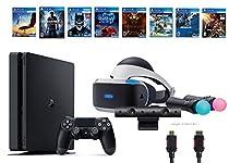 PlayStation VR Start Bundle 10 Items:VR Start Bundle,PS4 Slim- Uncharted 4,6 VR Game Disc Until Dawn:Rush of Blood, EVE:Valkyrie,Battlezone,Batman:Arkham VR, DriveClub,Battlezone