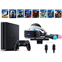 PlayStation VR Start Bundle 10 Items:VR Start Bundle,PS4 Slim- Uncharted 4,7 VR Game Disc Until Dawn:Rush of Blood, EVE:Valkyrie,Battlezone,Batman:Arkham VR, DriveClub,Eagle Flight