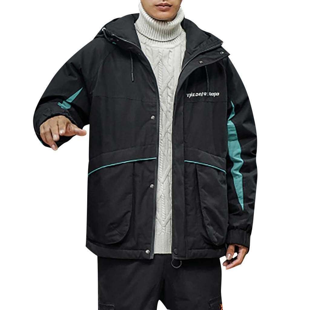 wuliLINL Mens Cotton Down Jacket Solid Color Hooded Winter Coat Lightweight Winter Warm Outwear(Black,M) by wuliLINL