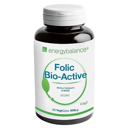 EnergyBalance Folic Acid 90 Capsules à 600µg 5-MTHF Folic Acid | Para Aumentar la Absorción de Folato | Vitamina ...