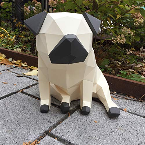 Sofs Designs 3D Pug Puppy DIY Paper Model. Kit Contains Instruction and Quality cardstock Template Ready for You to Make This Awesome Modern Decoration ()