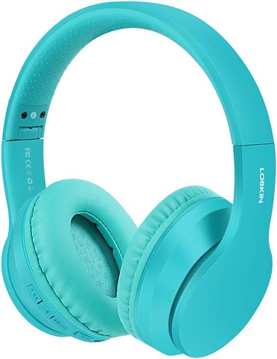 Auriculares inalámbricos LOBKIN, micrófono incorporado manos libres Bluetooth 5.0 sobre la oreja, sonido estéreo de alta fidelidad Reducción de ruido estéreo, almohadillas de proteína plegables para clase en línea, oficina en el