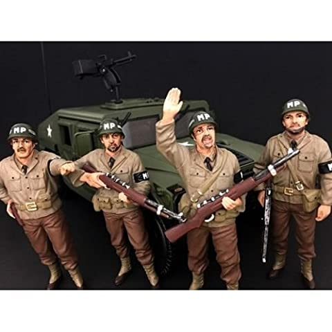 WWII Military Police 4 Piece Figure Set For 1:18 Scale Models by American Diorama (Military Vehicles 1 18)