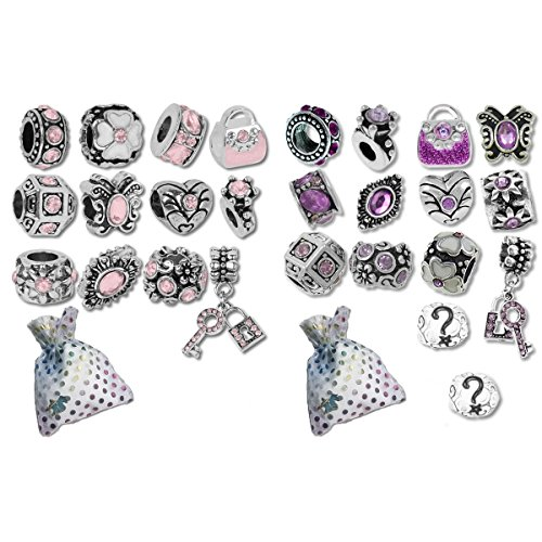 Timeline Treasures European Charm Bracelet Charms and Beads for Women, DIY Jewelry, Easter Pink Purple -