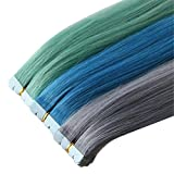 Remeehi Multi-Colored Party Highlights Colorful Tape In Human Hair Extensions 20inch Light Grey