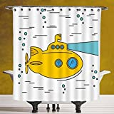Cool Shower Curtain 3.0 by SCOCICI [ Yellow Submarine,Ocean Nautical Adventure Underwater Bubbles Porthole Cartoon Kids,White Yellow Blue ] Waterproof and Mildewproof Polyester Fabric Bath Curtain Des