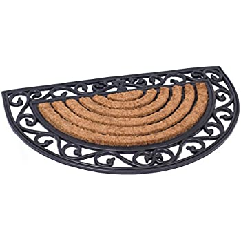 Beau BirdRock Home 18 X 30 Half Round Natural Coir And Rubber Doormat With  Scroll Border | Natural Fibers | Outdoor Doormat | Keeps Your Floors Clean  ...