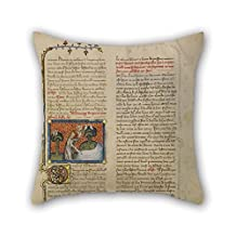 slimmingpiggy oil painting Master of Jean de Mandeville (French, active 1350 - 1370) - The Creation of Birds and Fishes cushion cases 16 x 16 inches / 40 by 40 cm for saloon,kids boys,lounge,floor,