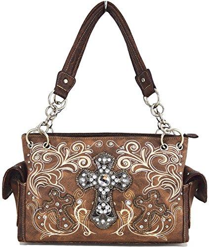 Blancho Bettwäsche-Frauen [Klassisches Muster] PU-lederner Art- und Weisetasche Handbad eleganter Geldbeutel Handbag-Braun