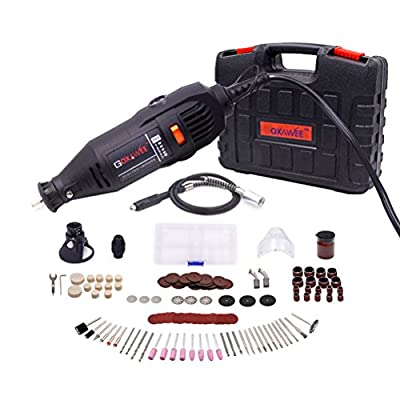 GOXAWEE - Variable Speed Rotary Tool Kit with Flex Shaft, MultiPro Keyless Chuck, Cover Shield - 140Pcs Accessories (1.68)