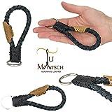 Echtleder Schlüsselanhänger geflochten in Handarbeit hergestellt! Schlüsselband aus Leder für Damen und Herren, Unisex - Farbe: Schwarz / Blau / Grau