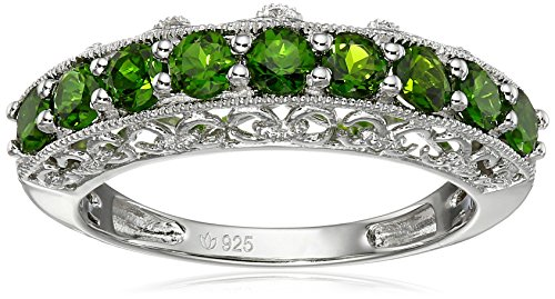 Sterling Silver Chrome Diopside Band Stackable Ring, Size ()