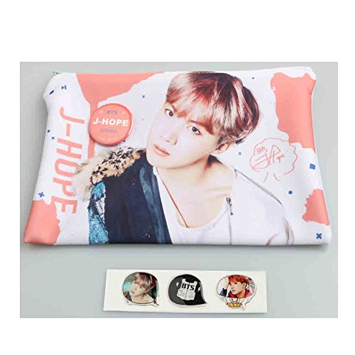 BTS J-Hope Photo Pouch Pencil Case with Button Badge, Epoxy sticker (J-Hope)