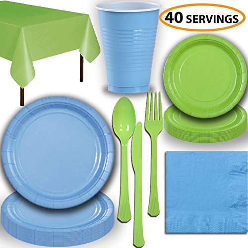 Disposable Party Supplies, Serves 40 - Light Blue and Lime G