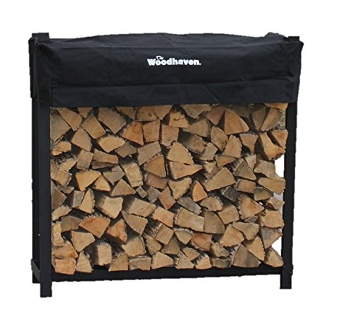 The Woodhaven 4 Foot Firewood Log Rack with Cover by The Woodhaven
