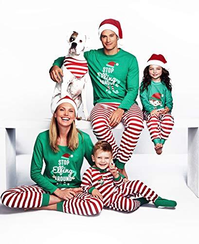 Maplewel Family Matching Christmas Pajamas Sleepwear Letter Printed Long Sleeve Tops Green Striped Pajamas Pant Set