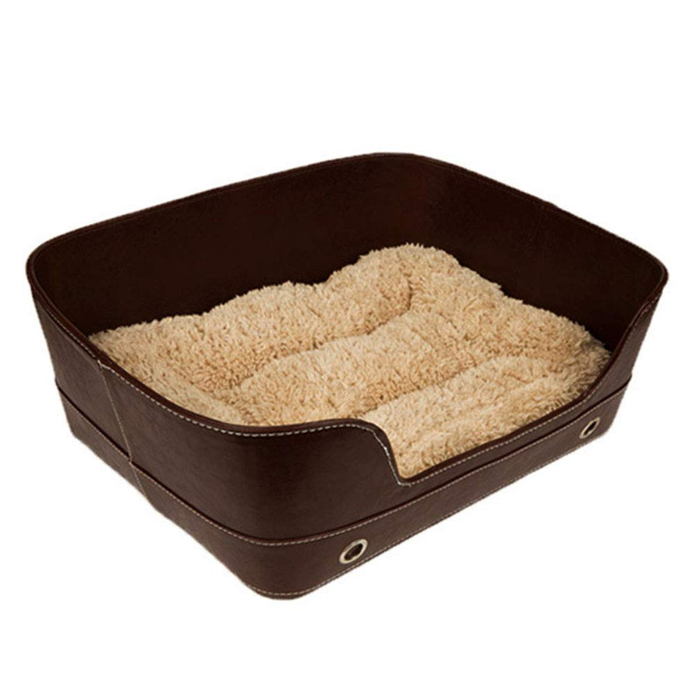 Brown Pet Nest Square Indoor Dog Bed Washable Kennel Four Seasons Available Cat Nest 48×37×18cm Keep Warm Pet House (color   Black)