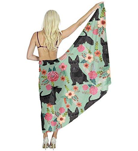 Scottie Dog Dress - AMERICAN TANG Swimwear Chiffon Printed Cover up Beach Sarong Wrap - Black Scottie Dog Silk Scarf - Bikini Swimsuit Wrap Pareo Dress - Perfect gift for woman