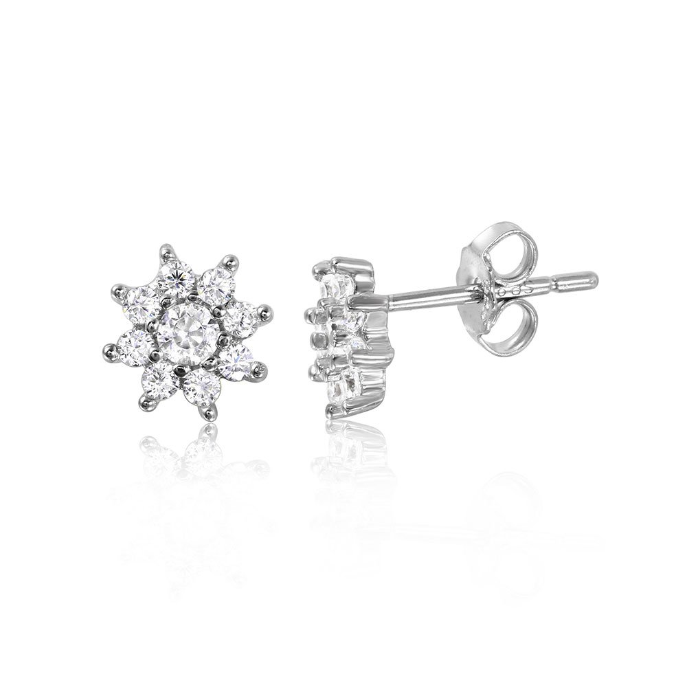 Clear Cubic Zirconia Shining Sun Earrings Rhodium Plated Sterling Silver