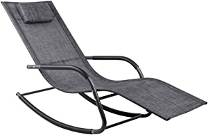 Wostore Rocking Lounger Patio Chaise Sunbathing Chair with Recliner Movable Sleep Bed Included Pillow and Breathable Texteline Farbic-Camouflage Grey