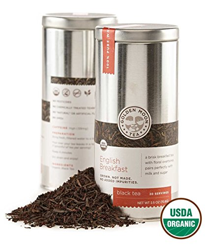 Golden Moon Tea - English Breakfast Tea - Organic - Loose Leaf - Non GMO - 2.5oz Tin - 30 Servings