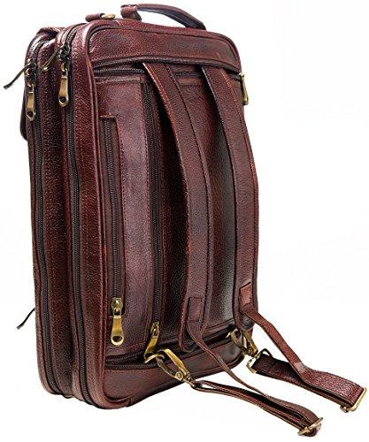 Urban Leather 16 Inch 3-in-1 Full Grain Handmade Dark Tan Bagpack-Handbag-Sling Laptop Ipad Leather Bag by Urban Leather (Image #5)