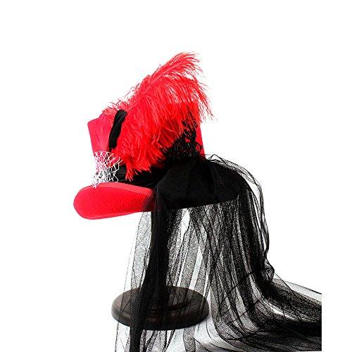 Victoriano 57cm Y Boda Negro Gótico Tamaño Sombrero color Neo Rojo Zhanying Steampunk Rojo 75qHxUnw