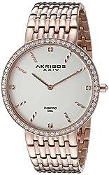 Akribos XXIV Men's AK866RG Diamond Accented Rose Tone Stainless Steel Bracelet Watch