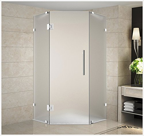 "Aston Neoscape 36"" x 36"" x 72"" Completely Frameless Neo-Angle Shower Enclosure in Frosted Glass, Polished Chrome"
