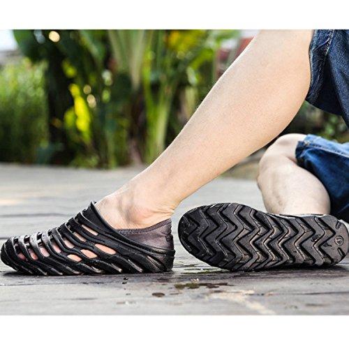 Monique Men Fashion Hollow Out Sandals Flip Flops Holes Openwork Shoes Wading Shoes Slippers Black AOq55nfO