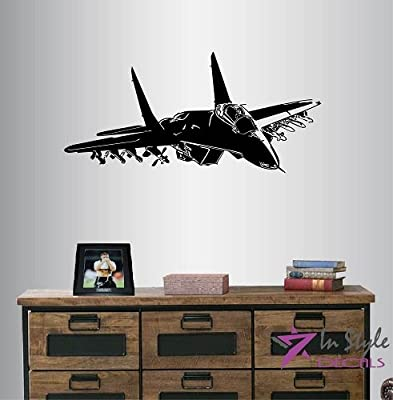 Wall Vinyl Decal Home Decor Art Sticker Fighter Jet Military Plane Room Removable Stylish Mural Unique Design