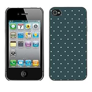 FECELL CITY // Duro Aluminio Pegatina PC Caso decorativo Funda Carcasa de Protección para Apple Iphone 4 / 4S // Wallpaper Green Love Pastel