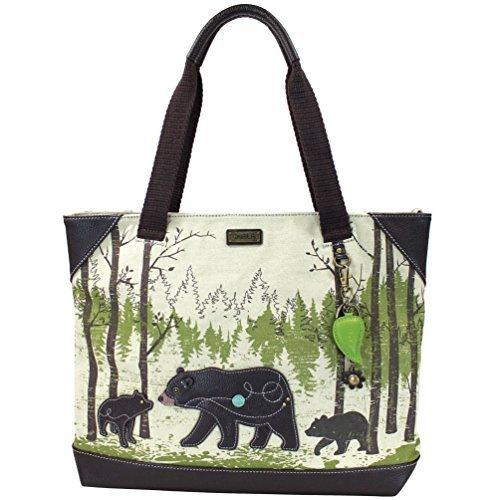 Chala Safari - Tote Bag, Canvas Tote - Detachable Charm/Keychain - Safari Bear