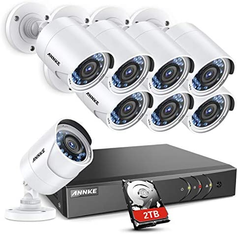 ANNKE CCTV Camera Systems 8Channel 1080P H.265 3MP DVR and 8 1080P FHD Weatherproof HD-TVI Bullet Cameras, 2TB Surveillance Hard Drive, Smart Search Playback, Email Alert with Snapshots