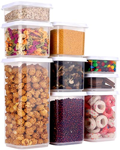 Airtight Food Storage Container Set with Lids, 9 pcs Plastic Food Container BAP Free Kitchen Pantry Organization and…