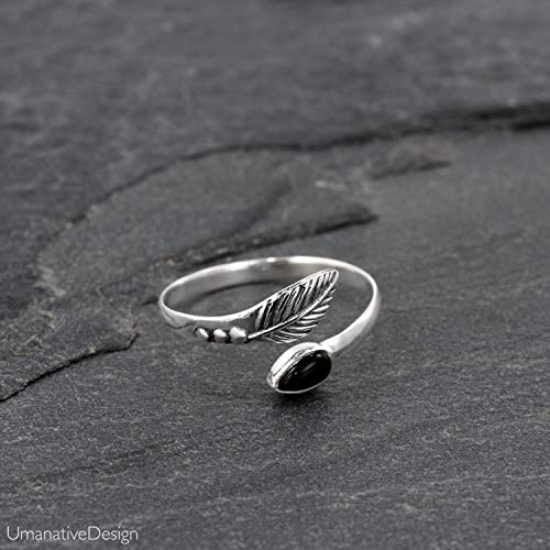 (Toe Ring, Sterling Silver Open Adjustable Foot OR Midi Knuckle Ring with Black Onyx Gemstone, Unique Bohemian Beach jewelry, Feather Shaped, Handmade Boho Wedding Accessories)