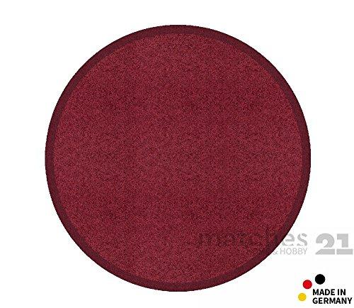 Fußmatte Fußabstreifer schmutzabsorbierend Schmutzfangmatte Uni einfarbig bordeaux weinrot 65 cm rund maschinenwaschbar bei 30°C