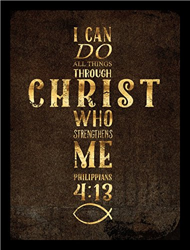 FRAMED I Can Do All Things Gold Foil Cross by Beth Albert 12x16 Art Print Poster Religious Art Bible Verse Philippians 4:13, I Can Do All Things Through Christ Who Strengthens Me