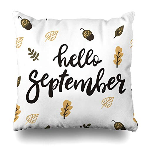 - Ahawoso Throw Pillow Cover White Brush Autumn Lettering Hand Written September Modern Nature Calendar Color Day Drawn Fall Home Decor Pillow Case Square Size 18 x 18 Inches Zippered Pillowcase
