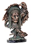 StealStreet SS-BA-C-D527 14.5'' Copper Bust of Native American Chief with Bald Eagle Statue
