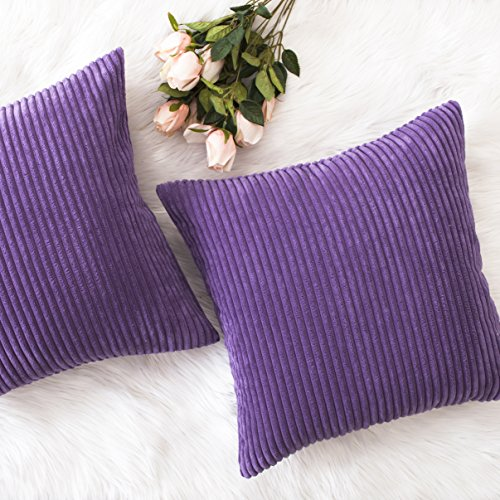 Home Brilliant Decor Supersoft Striped Velvet Corduroy Decorative Throw Toss Pillowcase Cushion Cover for Chair, Eggplant, (45x45 cm, 18inch), 2 Pieces (Metallic Traditional Chair)