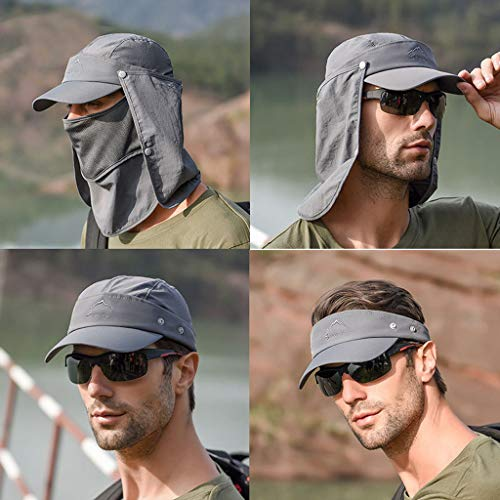 Tantisy ♣↭♣ Fully Enclosed Sun Protection Hats ☘ Unisex Flap Hats Sunscreen Cap Removable Summer Outdoor Fishing Hat Gray by Tantisy ♣↭♣ (Image #1)
